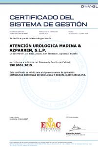 Certificado Calidad ISO 9001 2015